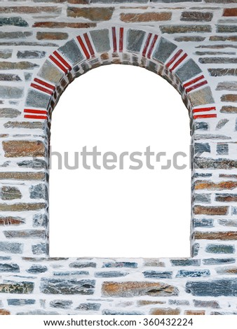 Arched opening of a stone wall isolated on white background - stock photo