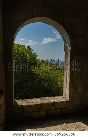 arched window in an unfinished house