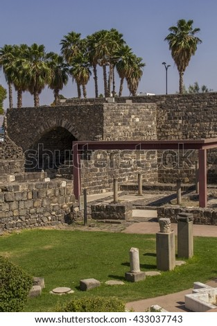 Archeological Park in  in the city center of Tiberias on shore of the Kinneret (the Sea of Galilee),Israel