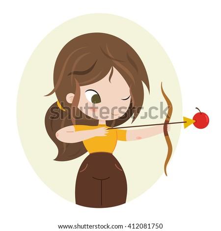 Archer girl with bow. Cute horoscope. Zodiac signs. Sagittarius. Series of cartoon zodiac characters. Horoscope for kids or teens, template for card, invitation, calendar or etc. Raster. - stock photo
