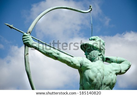 Archer statue in Sanssouci Park, Potsdam, Germany, Europe - stock photo