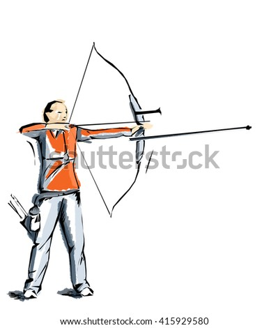 archery, illustration of man who practices sports