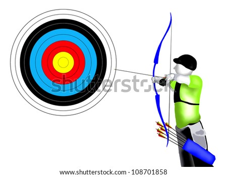 Archery :  Professional Archer Shooting an Arrow at A target in Archery Competition - stock photo