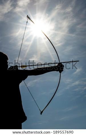 Archery silhouette - stock photo