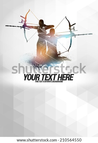 Archery sport invitation advert background with empty space - stock photo