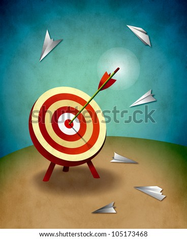 Archery Target with Arrow and Paper Airplanes Illustration. Competition and aiming for success concept. - stock photo
