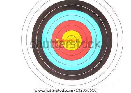 Archery target with arrow on white background