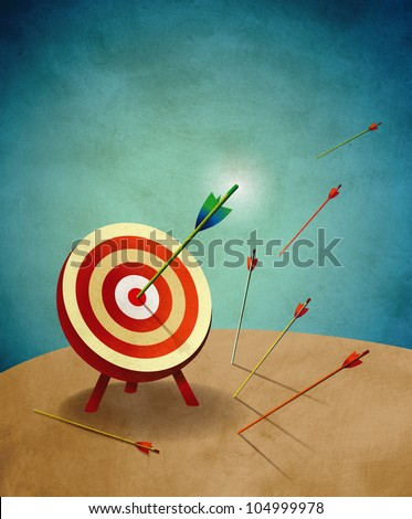 Archery Target with Arrows illustration. Aim for success concept.