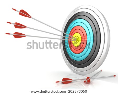 Archery target with red arrows in the center, isolated on white background. Side view