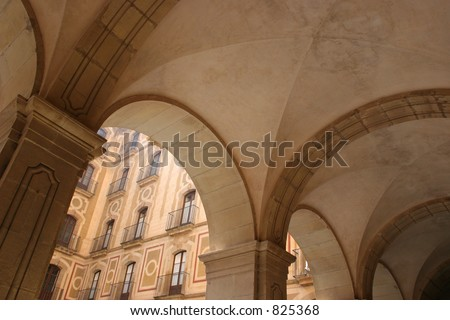 Arches at Montserrat in Spain. - stock photo