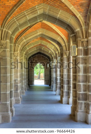 Arches in university building - stock photo