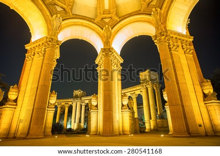 Arches inside the Palace of Fine Arts Museum at Night in San Francisco, California, USA