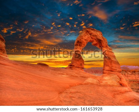 Arches National Park Delicate Arch sunset in Moab Utah USA photo mount - stock photo