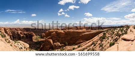 Arches National Park in the desert of Utah - Ultra wide photo - stock photo
