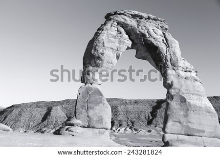Arches National Park in Utah, USA. Famous Delicate Arch in sunset light. Black and white tone - retro monochrome color style. - stock photo