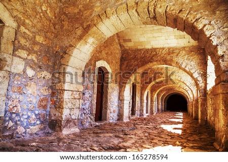 Arches of long niche. Arkadi monastery - Crete, Greece.  - stock photo