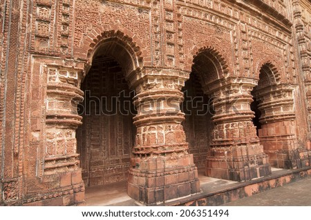 Arches of  Shyamroy Temple, made of terracotta, Bishnupur , India - stock photo