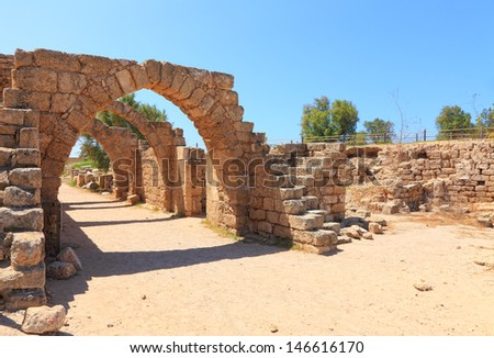 Arches of the old crusaders town. Caesarea. Israel  - stock photo
