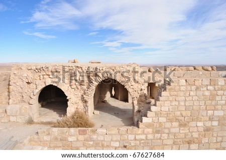 Arches,stairs at Saladin Fortress in Jordan