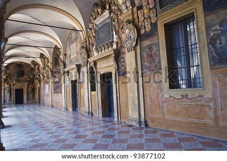 Archiginnasio of Bologna. Emilia-Romagna. Italy. - stock photo