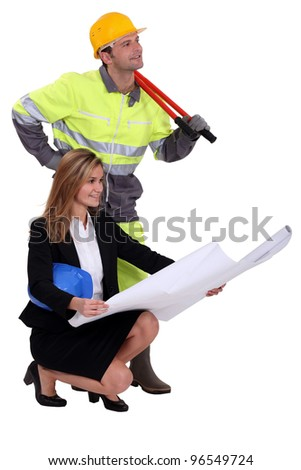 Architect and builder - stock photo