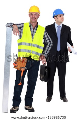Architect and contractor - stock photo