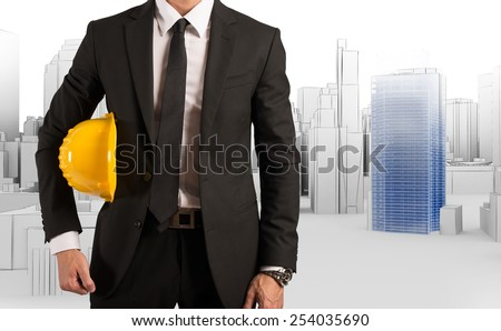 Architect approve a new urban site project - stock photo