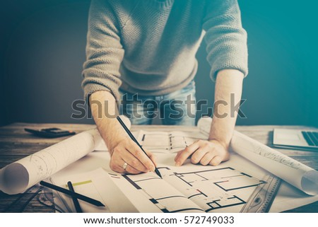 Architect architecture drawing project blueprint office stock photo architect architecture drawing project blueprint office business working architectural construction design designer ruler table workplace concept malvernweather Images