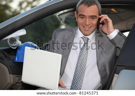 Architect arriving at work - stock photo