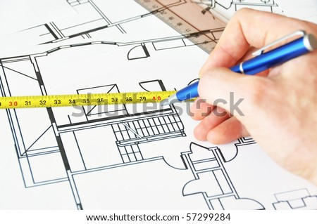 Architect at work - stock photo