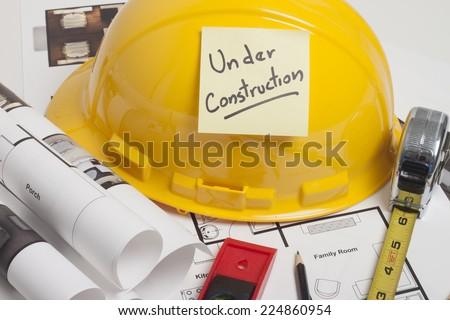 Architect blueprint - stock photo