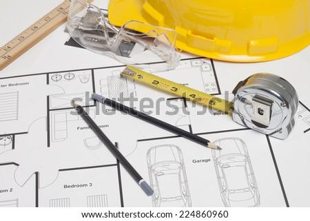 Architect blueprint - stock photo