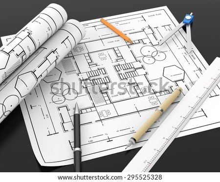 Architect blueprint and stationary tool background and blank space left for text and design element with clipping path