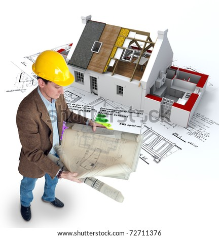Architect , blueprints a house under construction and an energy efficiency chart