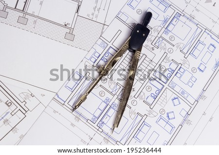 Architecture Blueprint Drawing Instruments Stock Photo 21134440