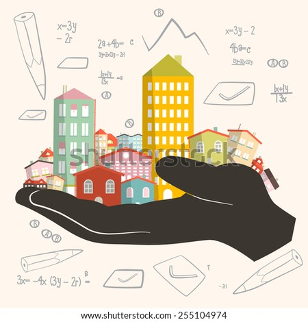 Architect Building Project - Development Illustration - Paper Houses in Human Hand - stock photo