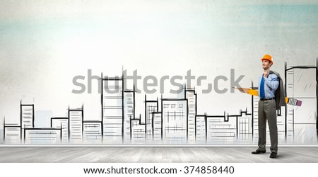 Architect designer and his project - stock photo