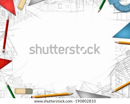 architect designer desktop frame isolated on white background illustration - stock photo