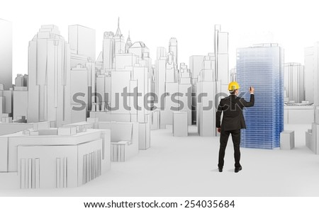 Architect designs a new big urban site - stock photo