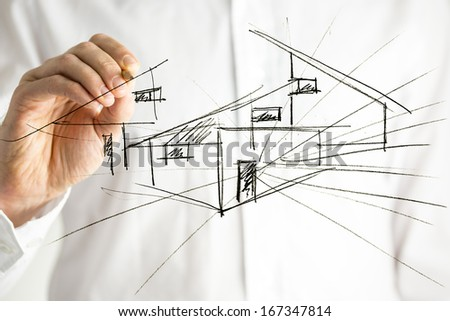 Architect drawing architectural house plan on virtual screen. - stock photo