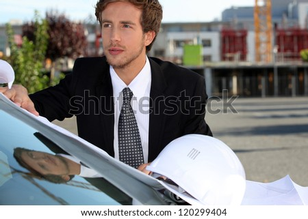Architect going onsite. - stock photo
