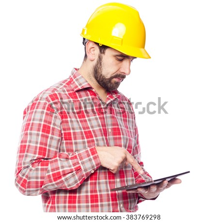 Architect holding a tablet computer, isolated on white background - stock photo
