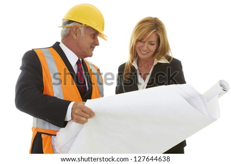 Architect Laying Out the Job To Female CEO isolated on white. - stock photo
