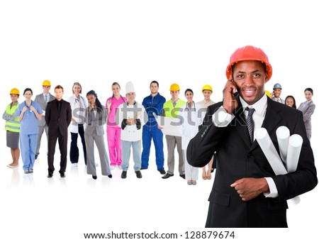 Architect on the phone in front of large diverse career group on white background - stock photo