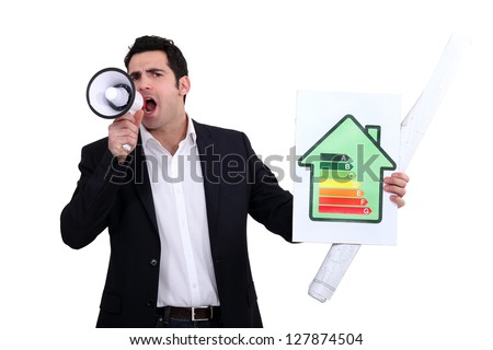 Architect shouting about his energy rating - stock photo