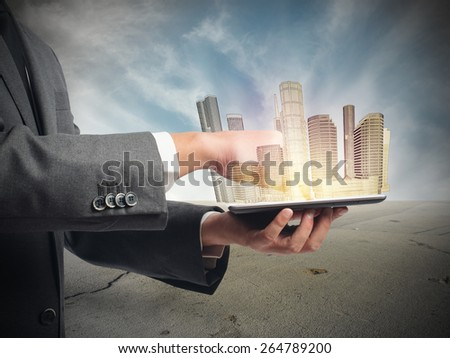 Architect shows urban vision into desert place - stock photo