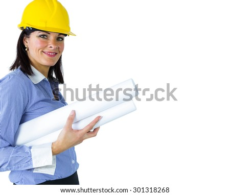 Architect smiling at the camera on white background