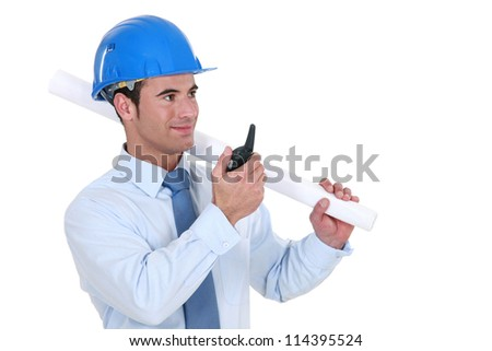 Architect with a talkie - stock photo