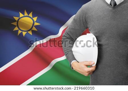 Architect with flag on background  - Namibia - stock photo