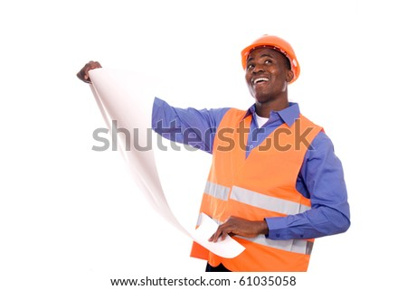 Architect with plans and helmet - stock photo
